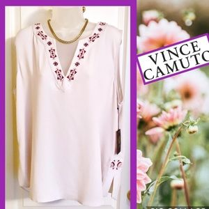 Vince Camuto Tops - Pink Top VINCE CAMUTO Shell Pink Embroidered  NWT